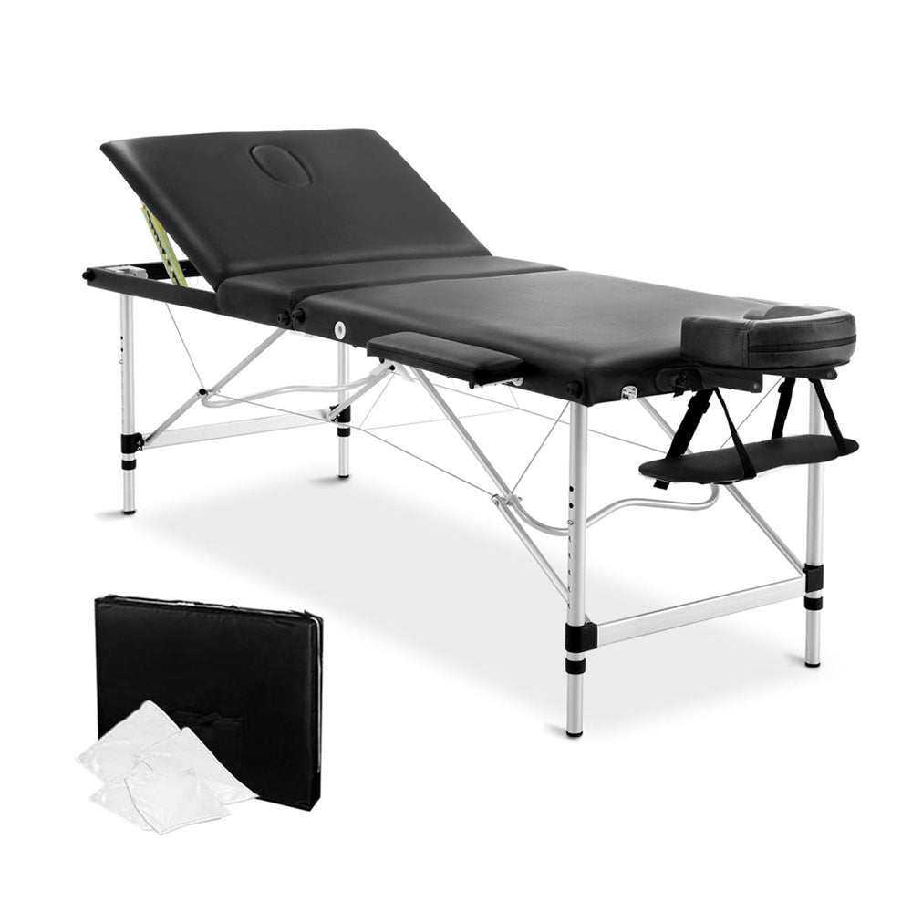 Portable Aluminium 3 Fold Massage Table Chair Bed Black 75cm MT-ALUM-GA301-BK-75