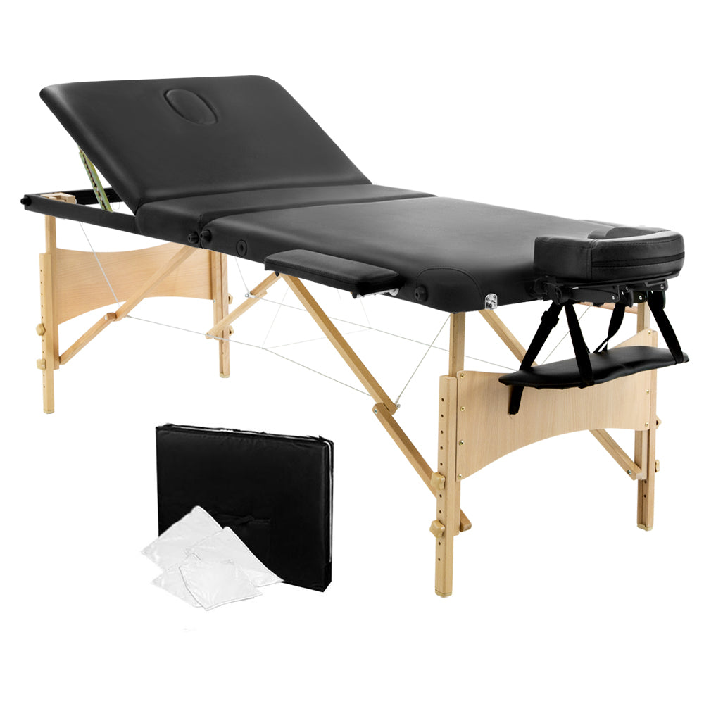 Portable Wooden 3 Fold Massage Table Chair Bed Black 70 cm MT-WOOD-F3-BLACK-70