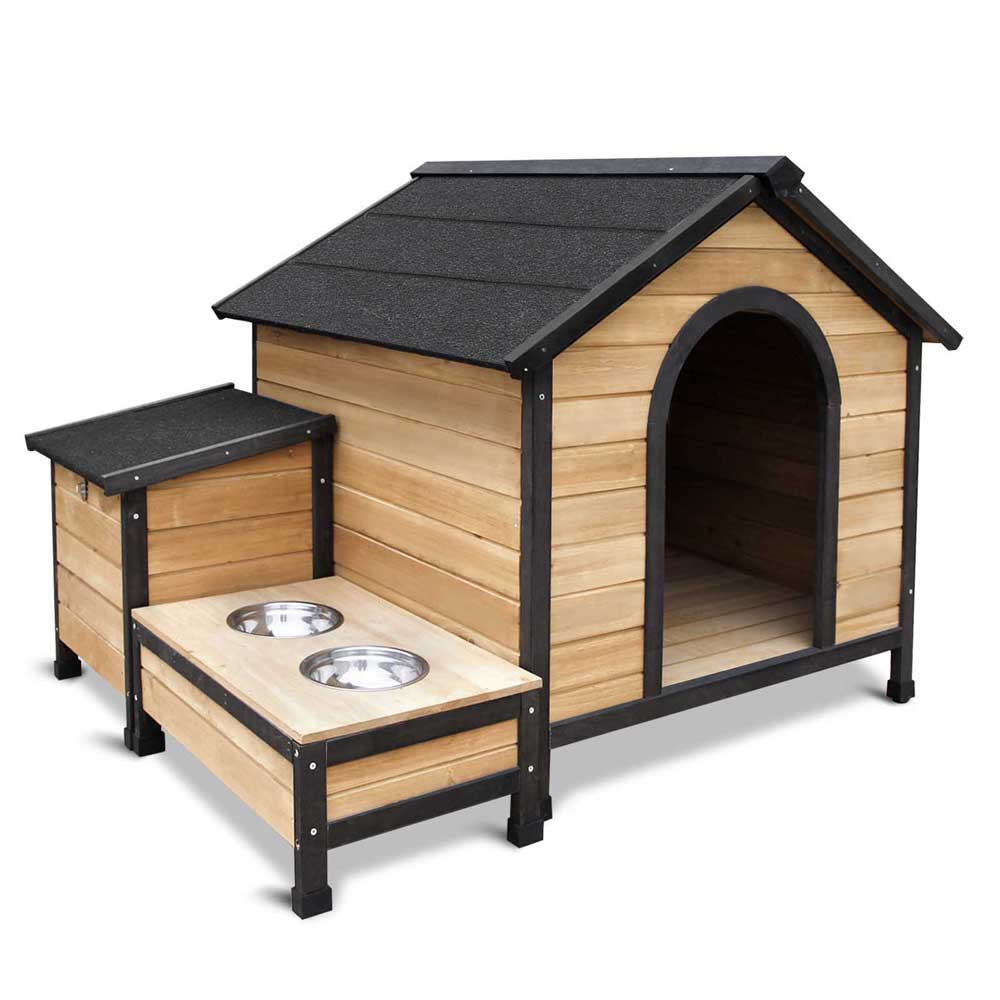 Timber Dog Kennel w/ Food Bowls PET-GT-DH018-BK-AB