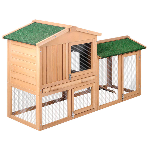 Rabbit Hutch Chicken Coop Cage Guinea Pig Ferret House w/ 2 Storeys Run - $160.95
