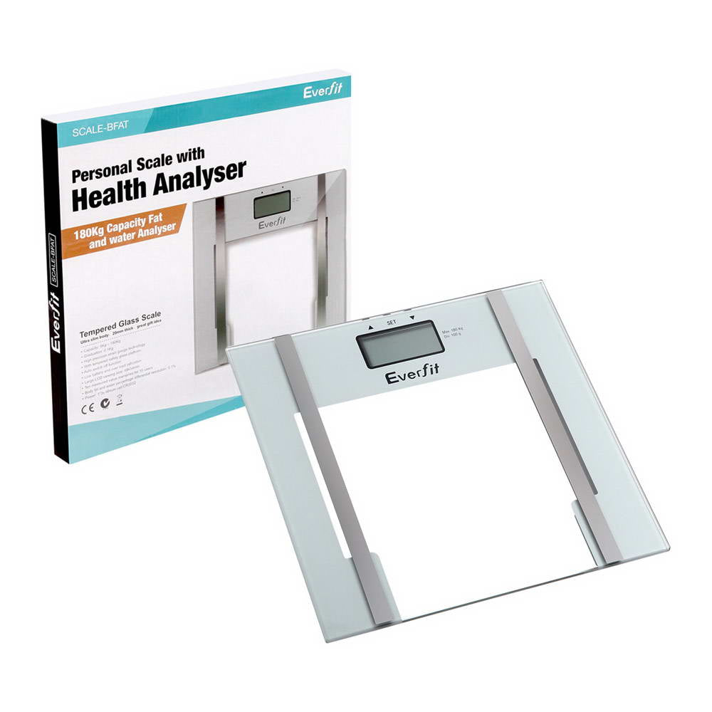 Electronic Digital Body Fat & Hydration Bathroom Glass Scale White SCALE-BFAT-WH