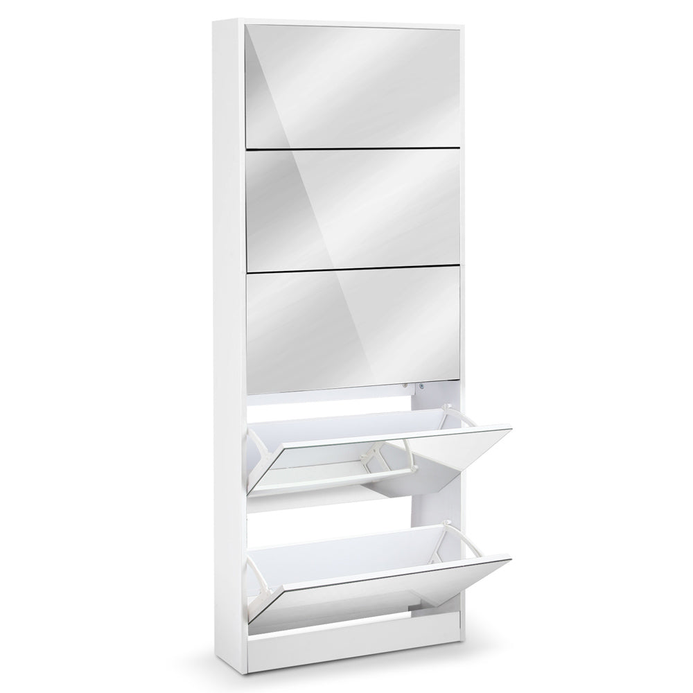 5 Drawer Mirrored Wooden Shoe Cabinet - White SHOE-C-34-MIRROR-AB