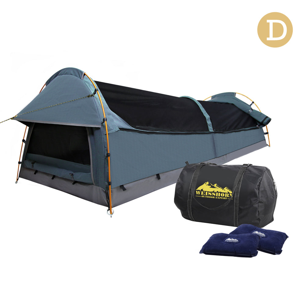 Double Canvas Camping Swag Tent Navy w/ Air Pillow SWAG-DOU-GS-NA