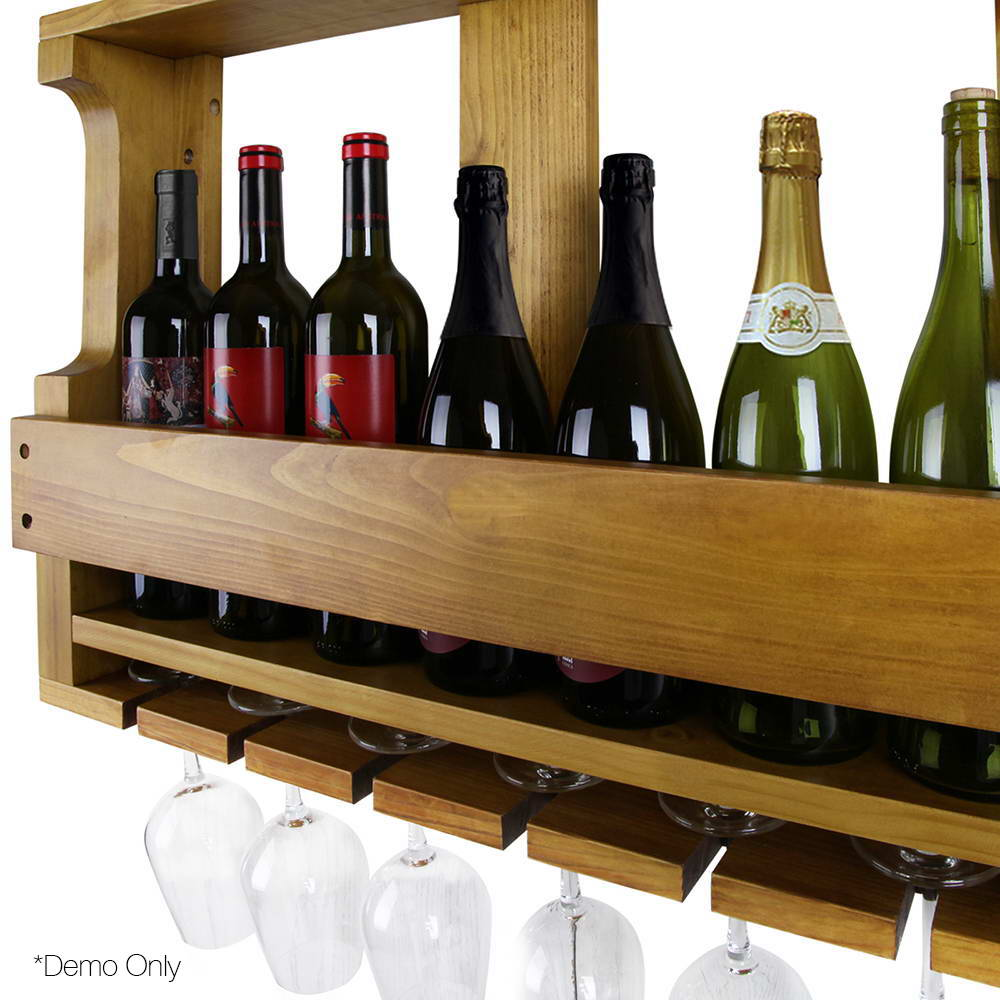 7 Bottle Wall Mounted Wine & Glass Rack - Natural WINE-RACK-WALL-NT