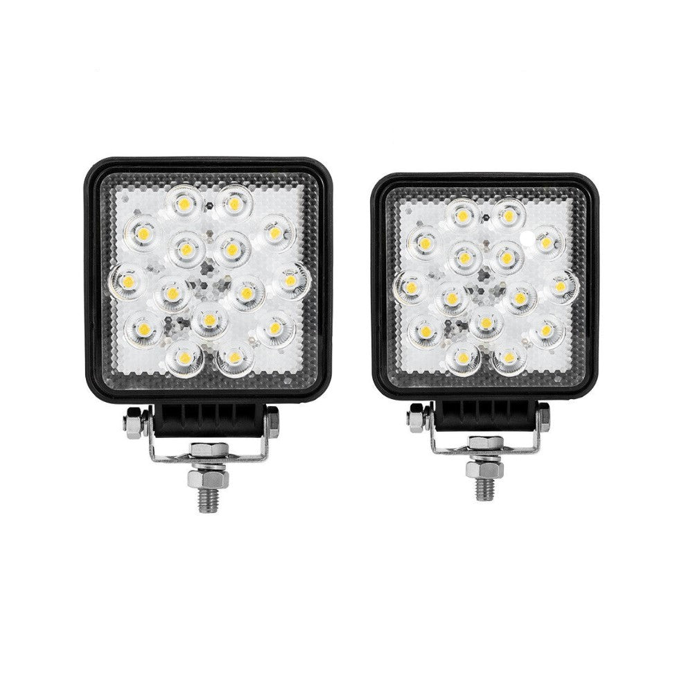 2x Square CREE LED Work Light Flood Lamp 4WD Offroad Tractor Truck SUV 12V 24V V13-WL-15S-FLOODX2