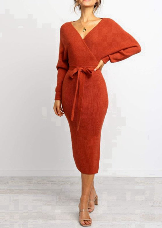 Burnt-Orange-Cross-Over Front-Long-Sleeve-Midi-Knit-Dress-with-Tie