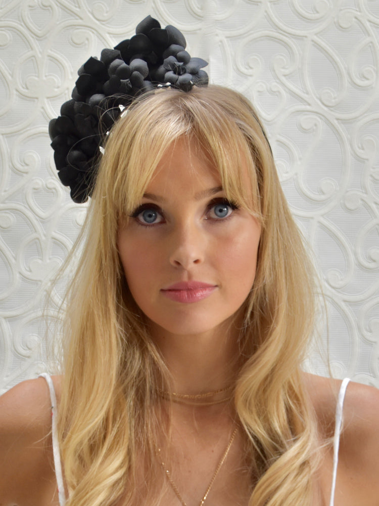 D&P Genuine Leather Flower Headband - Black
