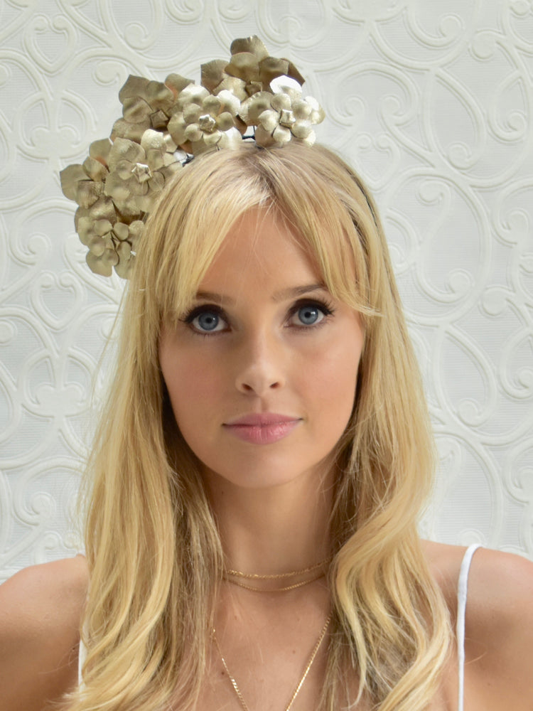 D&P Genuine Leather Flower Headband - Gold