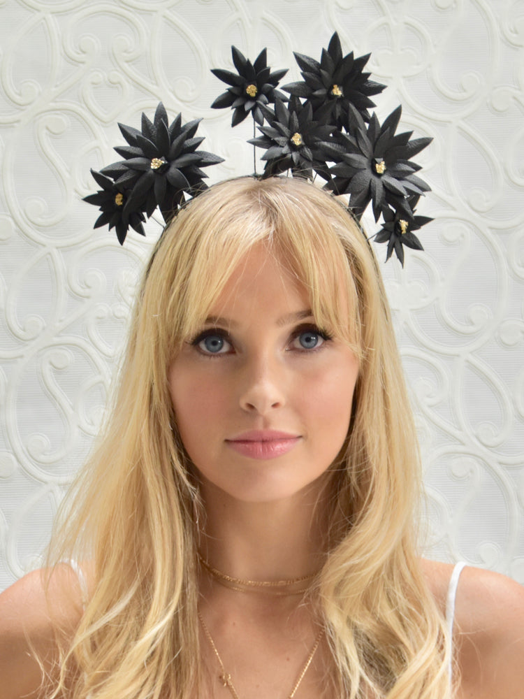 D&P Gold Detail Genuine Leather Flower Crown - Black