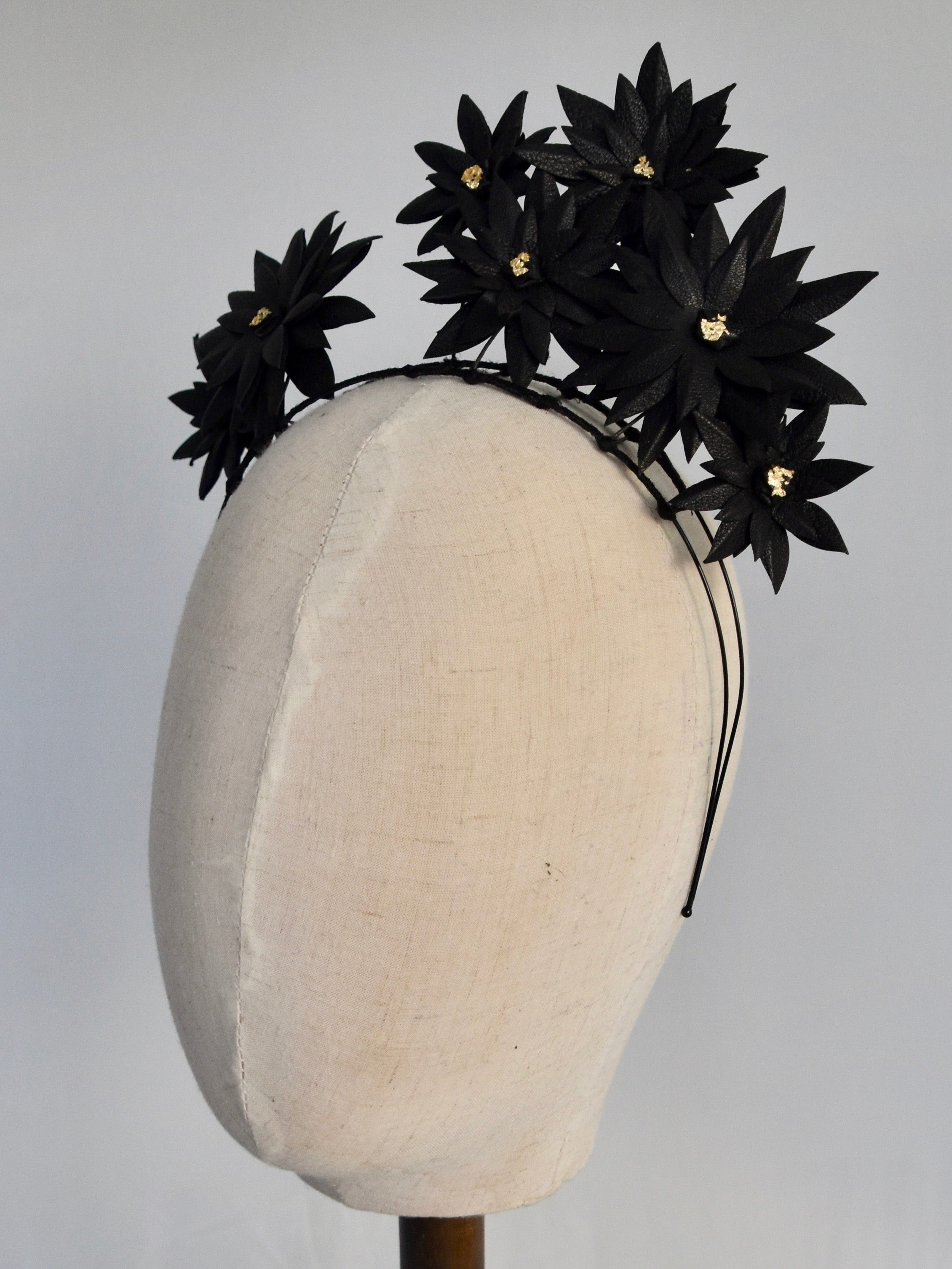 D P Gold Detail Genuine Leather Flower Crown - Black - CheekyBits ... acb7464648e