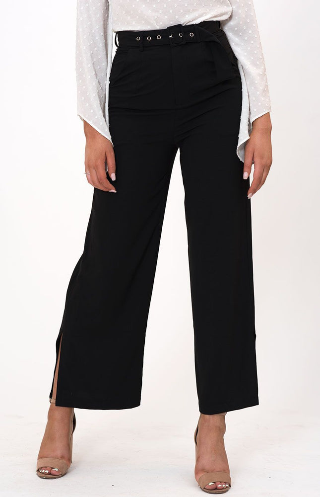 High Waisted Black Wide Leg Pants with Belt