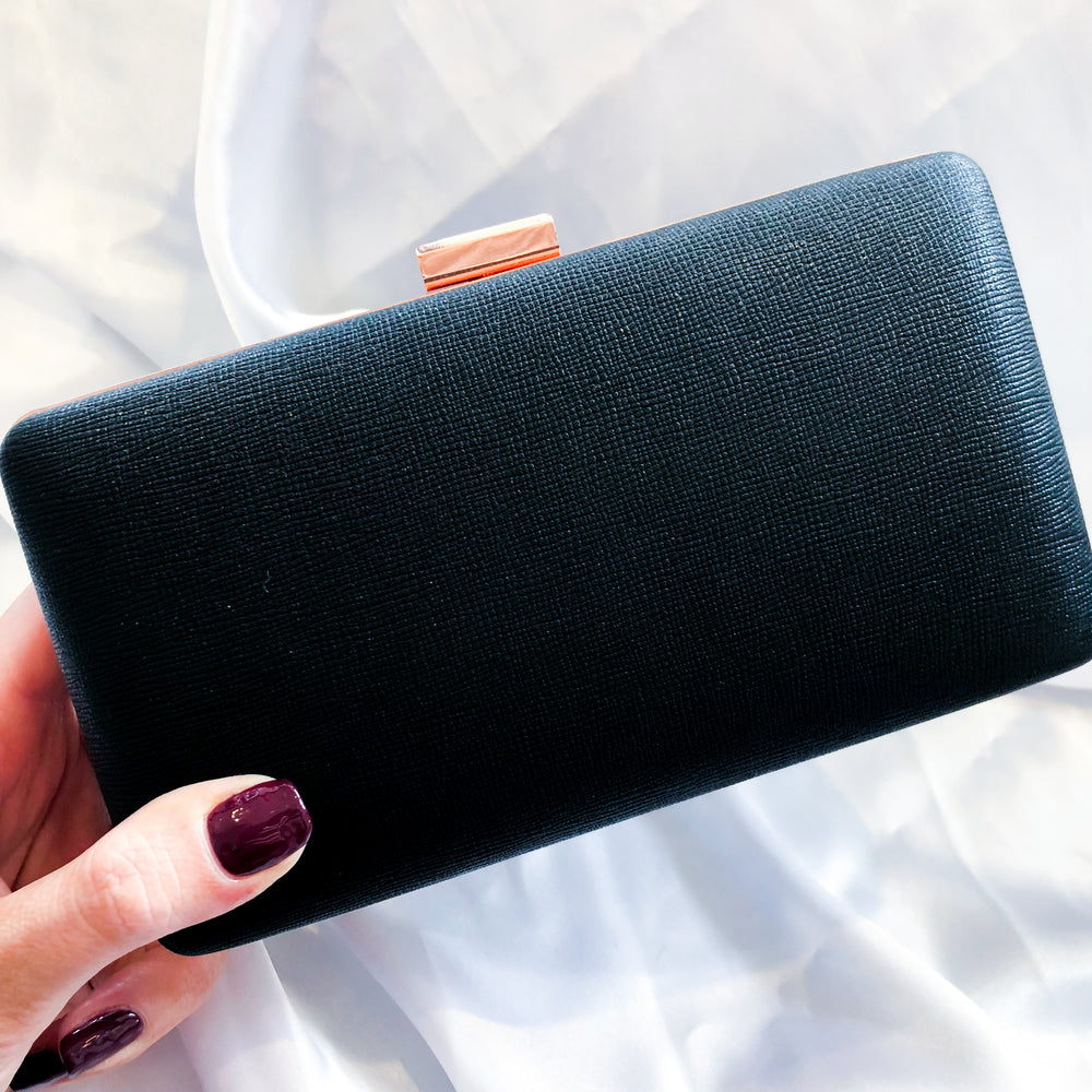 Textured Leather Look Black Clutch with Rose Gold Detail