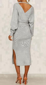 Grey- Cross-Over-Front-Long-Sleeve-Midi-Knit-Dress-with-Tie-Belt