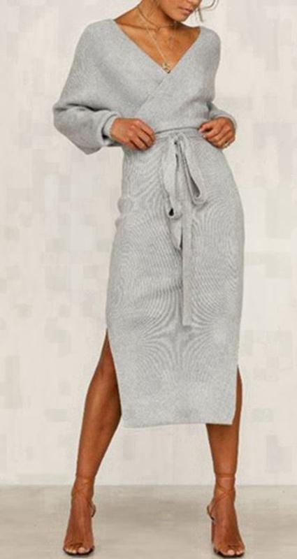 Cross-Over Front Long Sleeve Grey Midi Knit Dress with Tie Belt