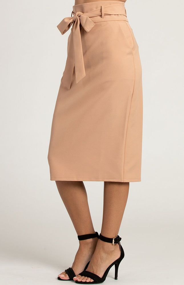 High Waisted Camel Pencil Skirt with Tie Belt