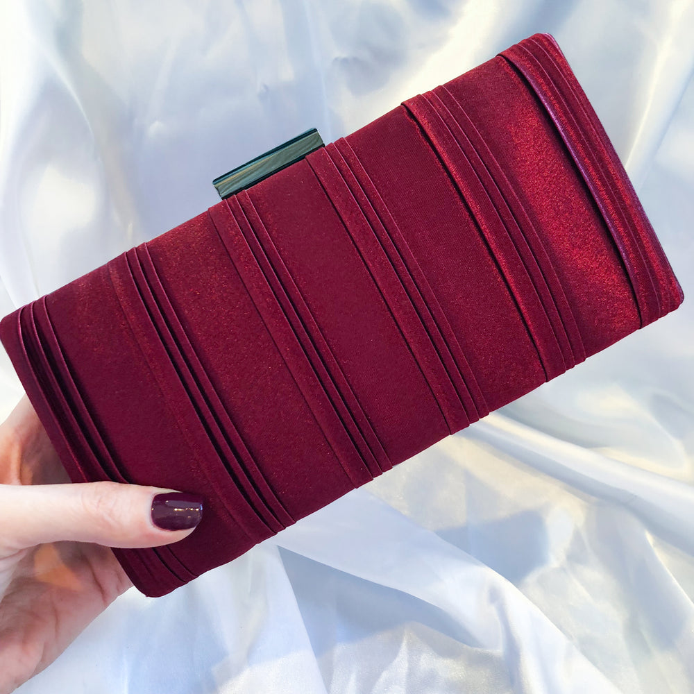 Red Satin Clutch with Dark Metal Detail