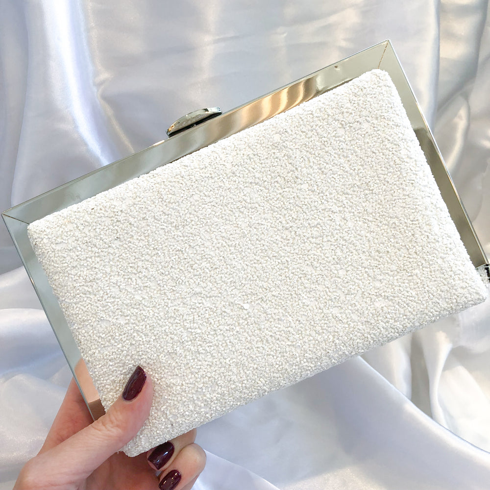 Textured White Sparkle Clutch With Silver Detail