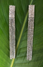 Long Silver Curtain Drop Earrings