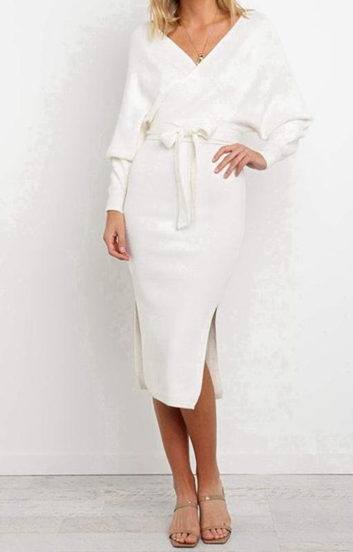 Ivory-White-Cross-Over-Front-Long-Sleeve-Midi-Knit-Dress-with-Tie-Belt