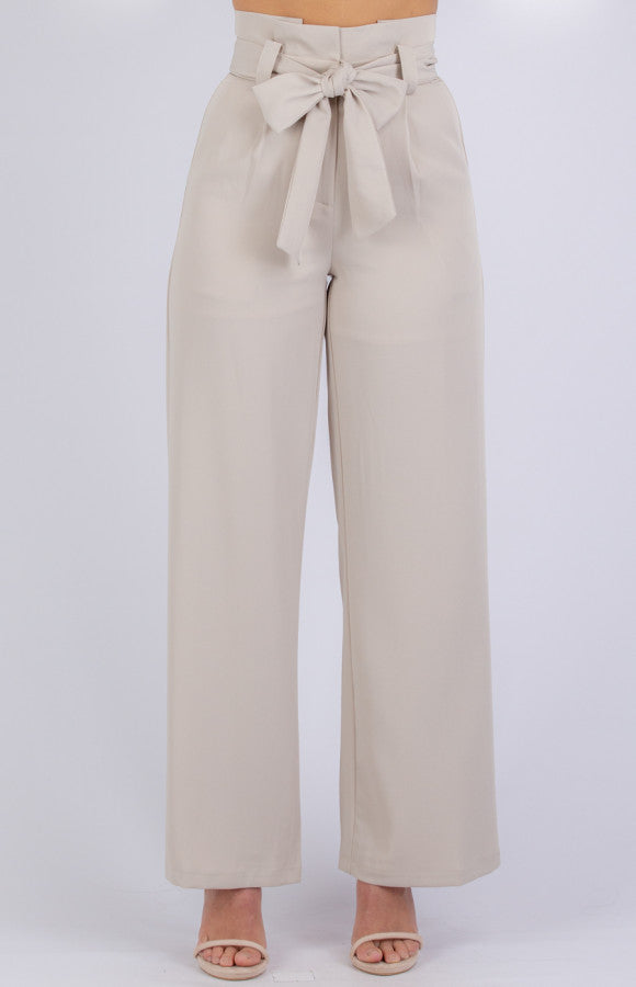 High Waist Paper Bag Wide Leg Beige Pants With Belt