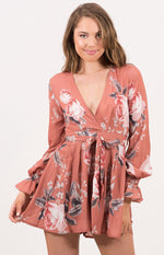 Sexy Floral V Neckline Long Sleeve Rust Playsuit