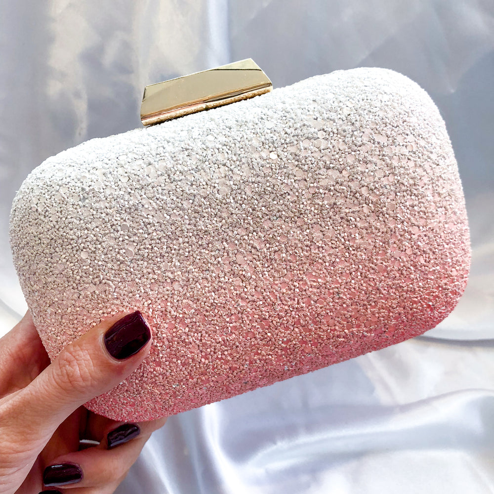 Pink Ombre Textured Clutch