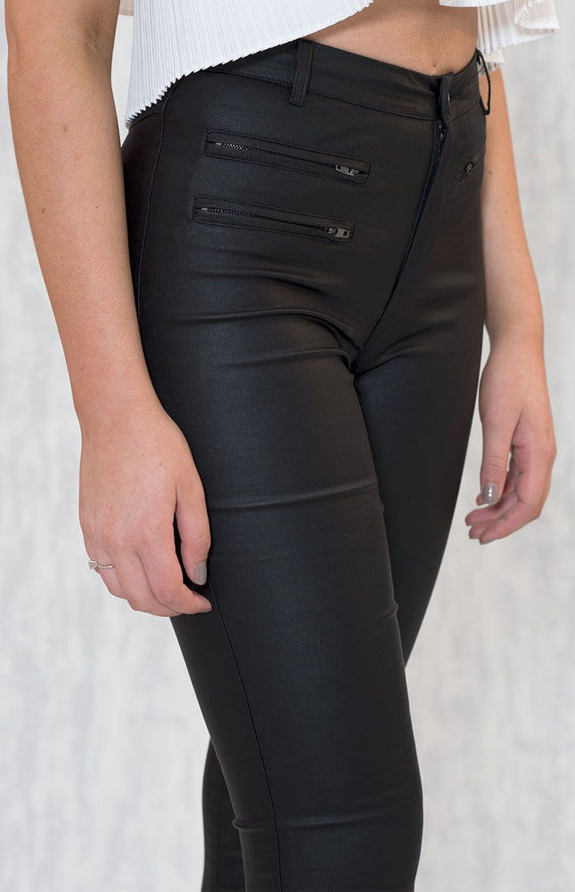 Black Wet-Look Pants