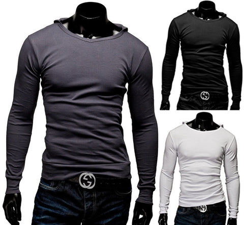 New Arrival Mens  T-Shirt With Hat Long Sleeve T- Shirt