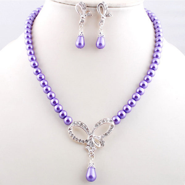 Luxrious Exquisite Imitate Pearl Necklace Earring Jewelry Set