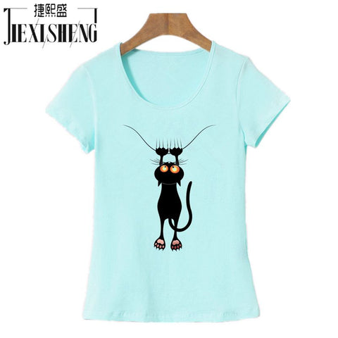 T shirt Women Summer Tops Casual Cotton 3D Cat Print