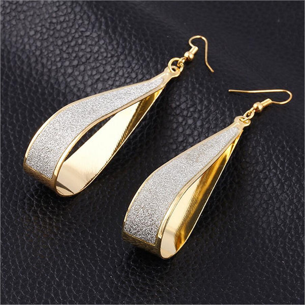 Rock Club Frosted Water Drop Earrings