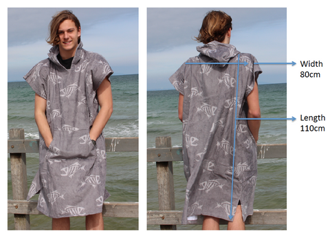 Back Beach Co adult hooded towel sizing