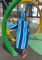 Luxe Blue Stripe Hooded Towel