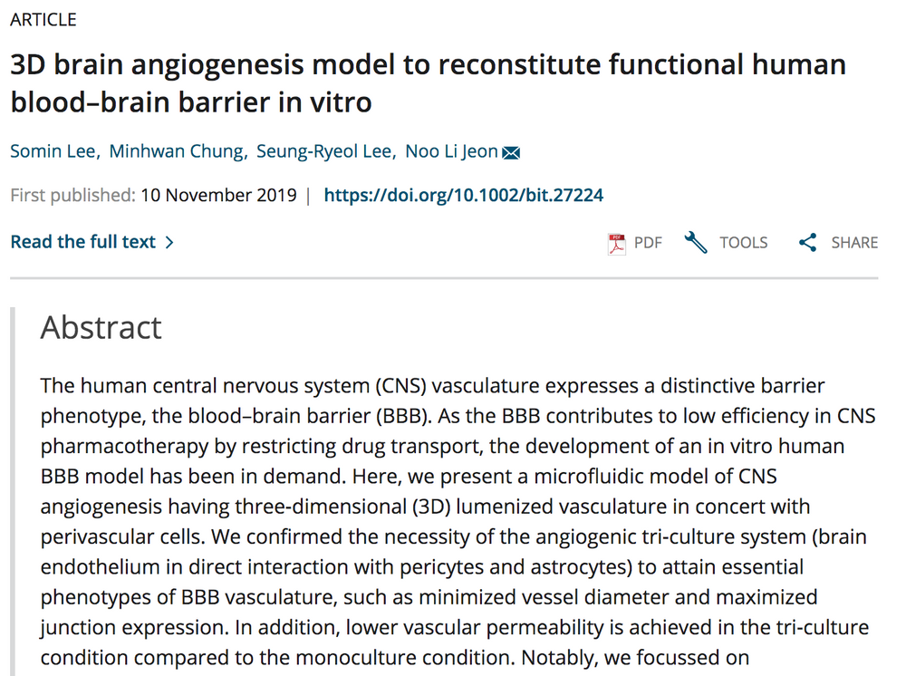 3D Brain Angiogenesis Models using ACBRI 376 primary cells