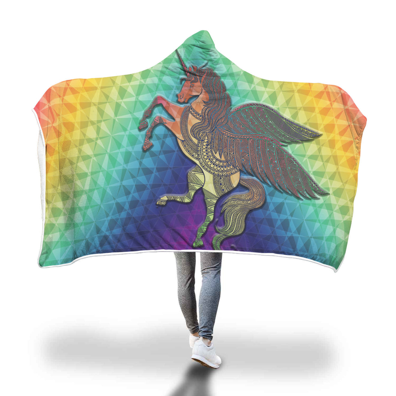 Unicorn With Wings Hooded Blanket