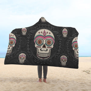 Funky Sugar Skull Hooded Blankets