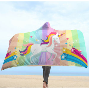 Colorful Unicorn Hooded Blanket