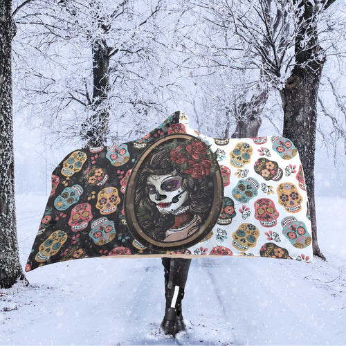 WK SugarSkull Hooded Blanket