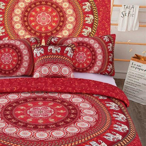 housse de couette housse de couette 5 pi ces mandala motif rouge el phant. Black Bedroom Furniture Sets. Home Design Ideas