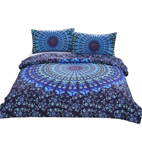 housse de couette mandala bleu la boutique zen. Black Bedroom Furniture Sets. Home Design Ideas