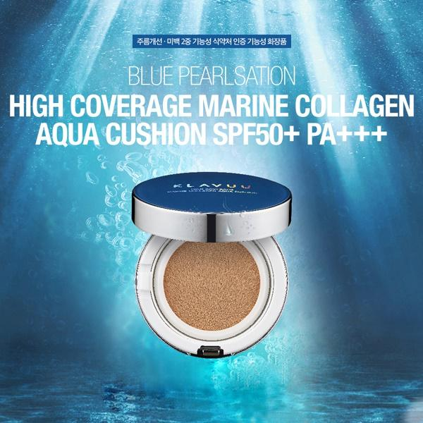 BLUEPEARLSATION High Coverage Marine Collagen Aqua Cushion 12g #21 #23 uv protection cushion