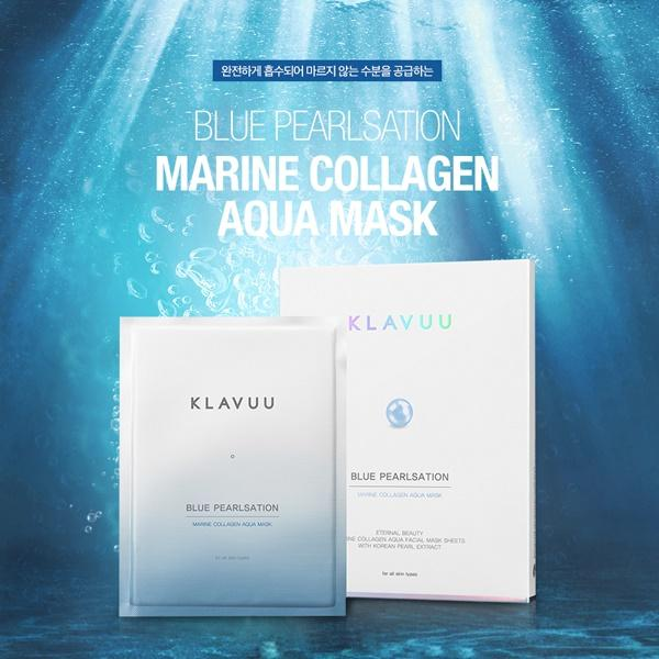 BLUEPEARLSATION Marine Collagen Aqua Mask 30g 1Box(5ea) clean and clear skin / hydrogel mask/ gel mask/ easy to attach/ soothing/ moisturizing/ beauty/ korea/ komall_021