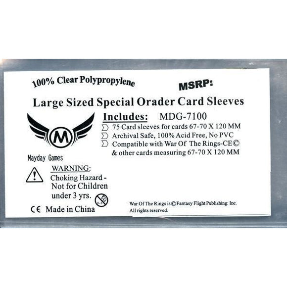 ZZ 137 Special Order Custom WOTR-CE Sleeves (67 MM X 120 MM) -75 Card Sleeves - Boardway India