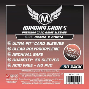 ZZ 133 Square Card Sleeves - Medium (80x80mm): 50 Premium card sleeves - Boardway India