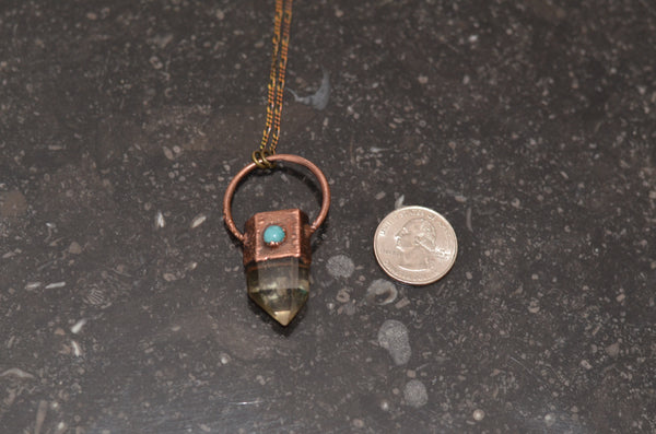 Electroformed Citrine & Copper Pendant w/ Amazonite