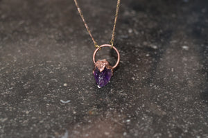 Electroformed Raw Amethyst & Copper Pendant