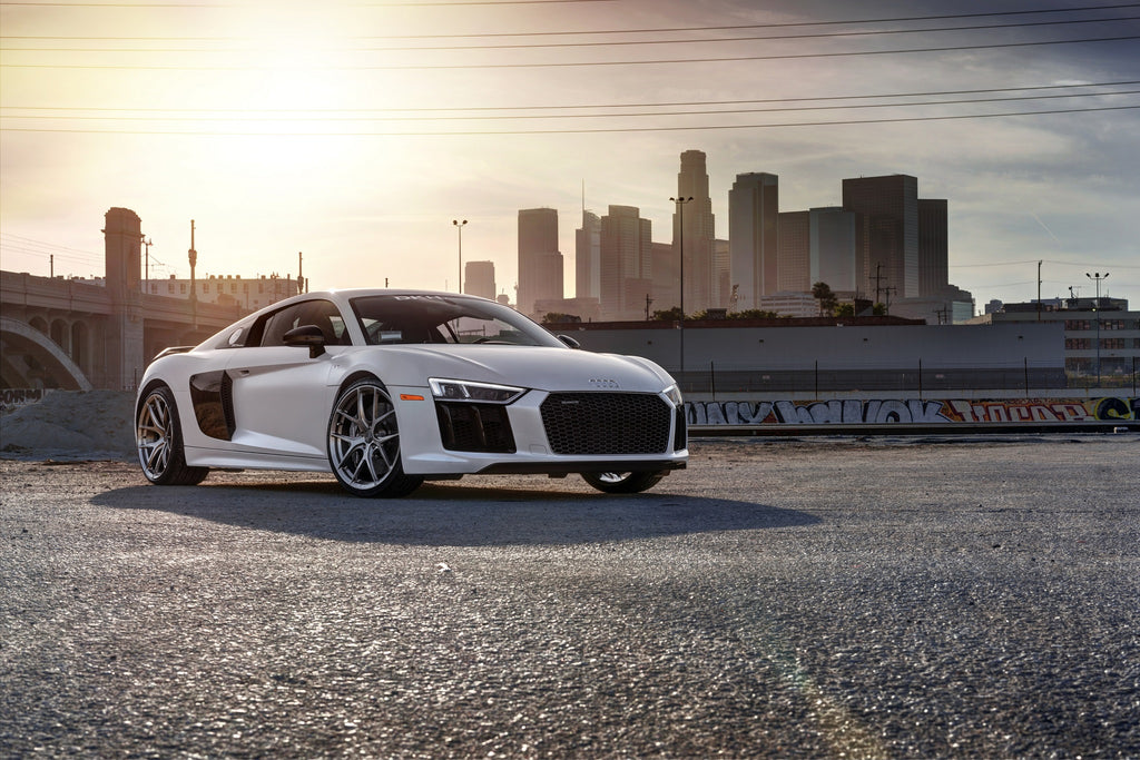 Audi r8 v10 plus on uf101s 305forged wheels in a variety of standard or custom finishes this particular set is done in brushed aluminum which compliments matte suzuka grey paint of the r8 very publicscrutiny Images