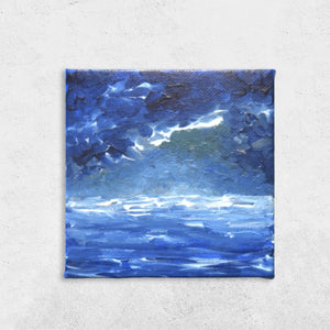 Before the storm, canvas, acrylic, painting, sky, sea, ocean, storm, iceland, icelandic, stormy painting, at sea, blue, acrylic on canvas, acrylic painting,