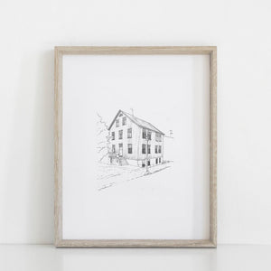 Architects drawing, personalised hand drawing, personalized gift, personalised sketch, small gift, unique gift, thoughtful gift, someone special, personalised architectural drawing, a5,