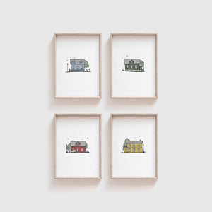 Reykjavik Houses - set of prints 1